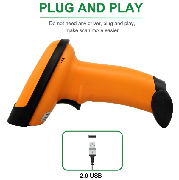 NT-1228 Wired 2D QR Barcode Scanner - Plug and Play Device
